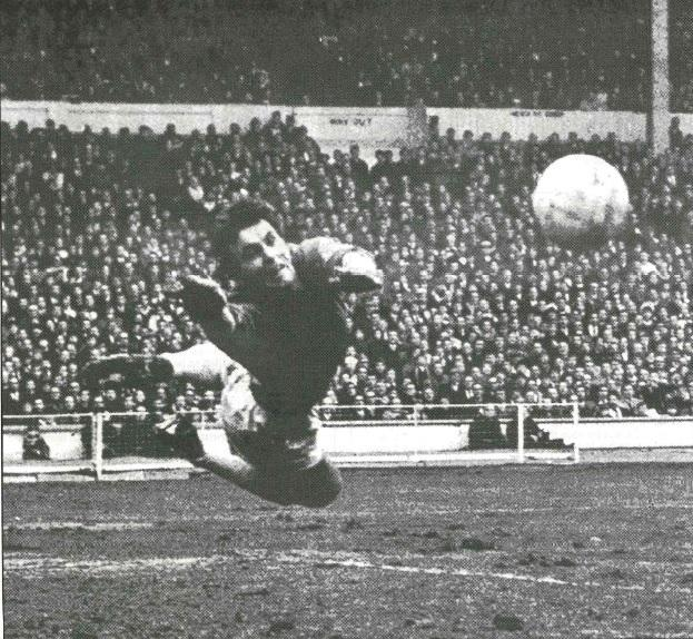 Peter Downsborough dives for the ball during Swindon Town's 1969 League Cup final victory over Arsenal at Wembley