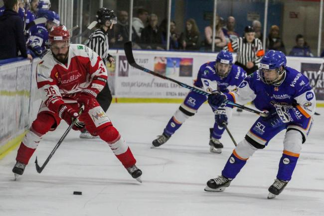 Jan Kostal looks to fire the puck forward for Swindon Wildcats (red) during Saturday night's 5-0 home win over Telford Tigers			                  Picture: KAT MEDCROFT