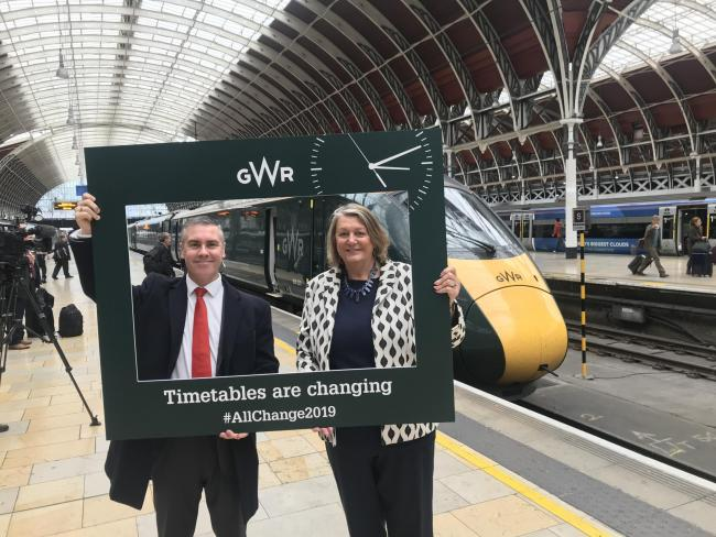 Coun Maureen Penny (right) with from Great Western Railway at London Paddington