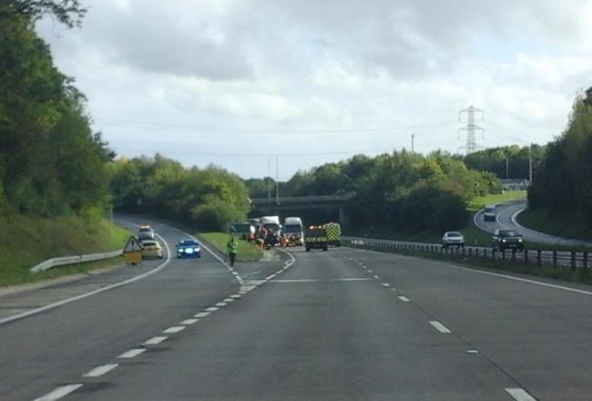 The crash scene on the A417 Picture: GLOUCESTERSHIRE CONSTABULARY