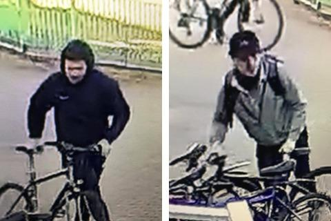 Police want to speak to these men in connection with bike thefts outside Oasis Picture: WILTSHIRE POLICE