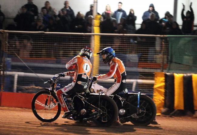Adam Ellis (right) celebrates a 5-1 heat win for Swindon Robins against Wolverhampton Wolves on Thursday night with captain Jason Doyle		  Picture: DAVE EVANS