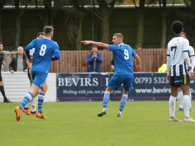 Harry Williams celebrates his goal for Swindon Supermarine against Farnborough. PICTURE: JEFF YOUD