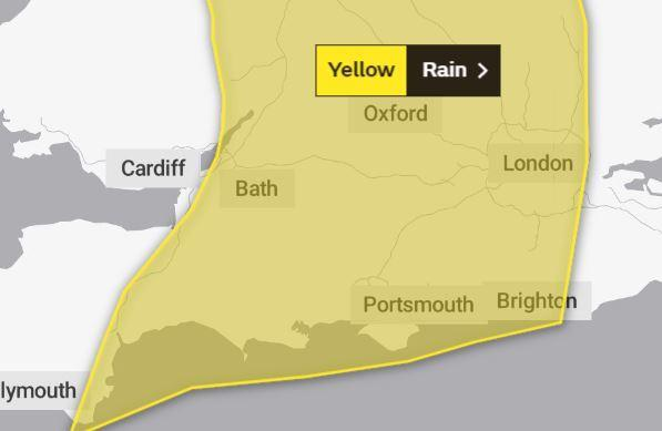 The yellow weather warning for tomorrow covering Swindon