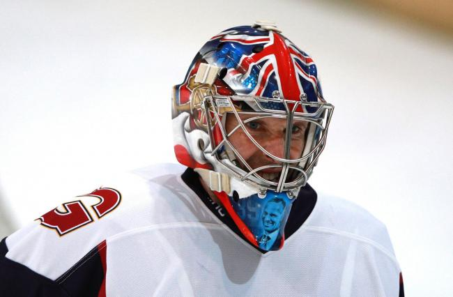 Guildford Phoenix goaltender Petr Cech wears a helmet with an Arsenal emblem on it during the NIHL2 match at Guildford Spectrum Leisure Complex, Guildford. PA Photo. Picture date: Sunday October 13, 2019. See PA story HOCKEY Guildford. Photo credit should