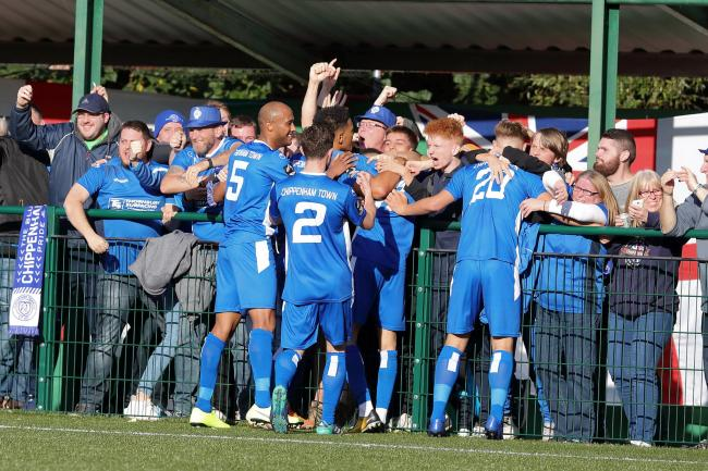 The Chippenham Town players celebrate a goal at Whyteleaf. PICTURE: RICHARD CHAPPELL