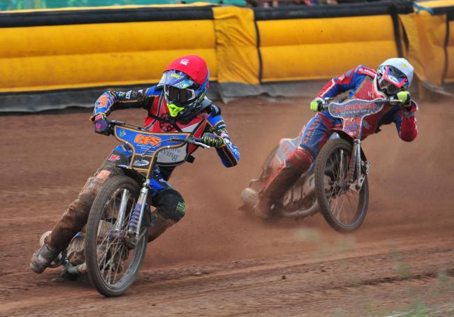 Swindon Sprockets captain Anders Rowe leads the way to win heat five from Luke Bowen. PHOTO: Shaun Reynolds Photography