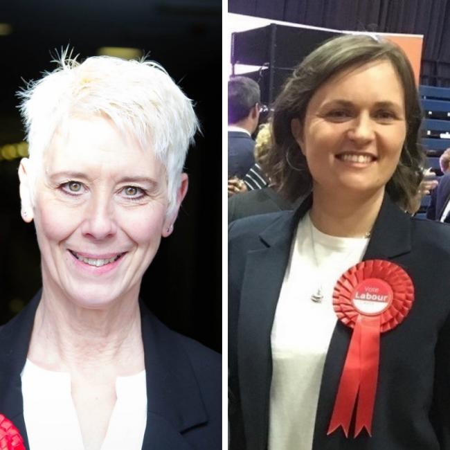 Labour's North Swindon candidate Kate Linnegar and Sarah Church who is standing in South Swindon