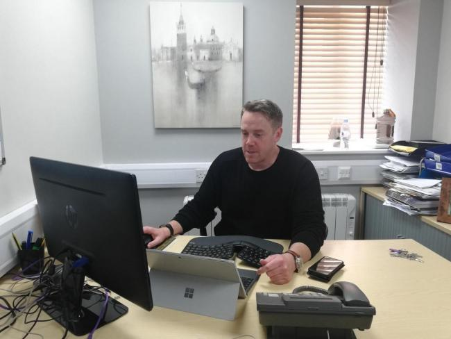 Carlton James Group CEO Simon Calton at his desk. The company is investing into energy storage materials