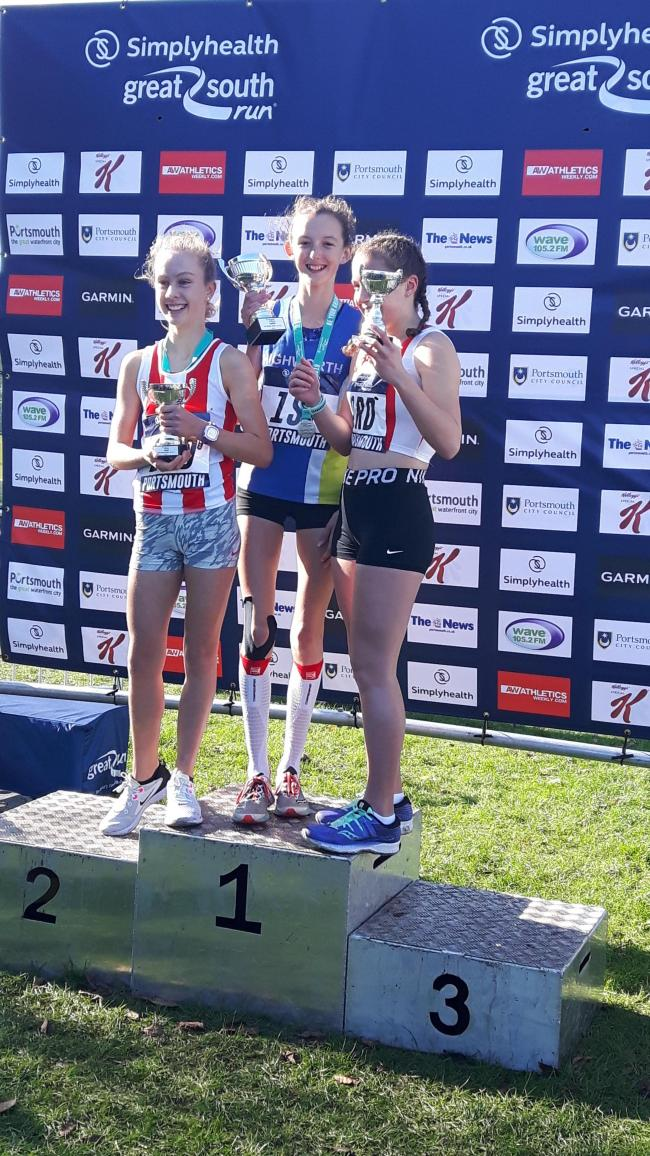Highworth Running Club's Kiya Dee won the Junior Great South Run in Portsmouth