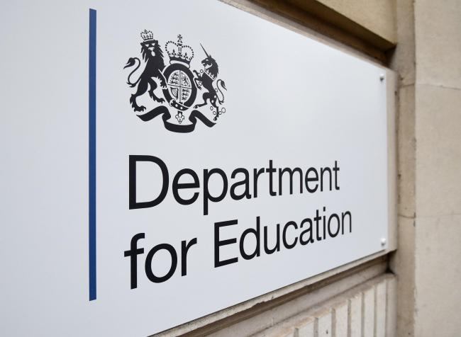 EMBARGOED TO 0001 WEDNESDAY MAY 22 File photo dated 11/01/18 of signage for the Department for Education in Westminster, London, as it has failed to make the progress it predicted when it reformed the apprenticeships programme two years ago, a report has