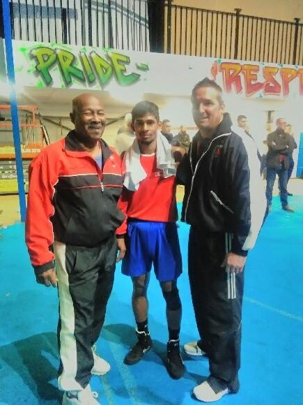 Bolton Fernandes with Walcot ABC coaches Harry Scott (left) and Dan Hughes