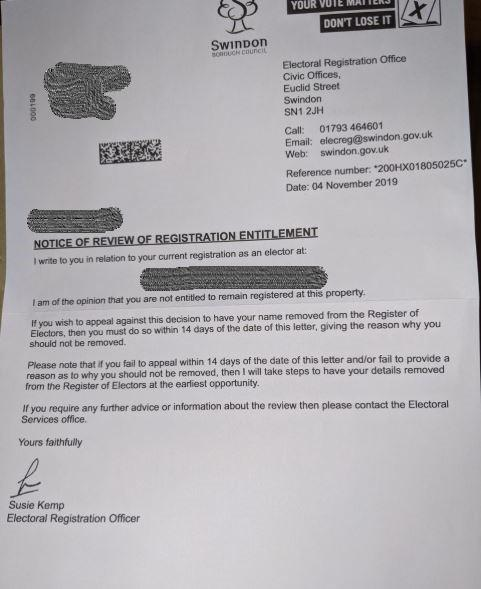 What Is A Registered Letter.Shock At Election Letters Sent To Thousands Of Swindon