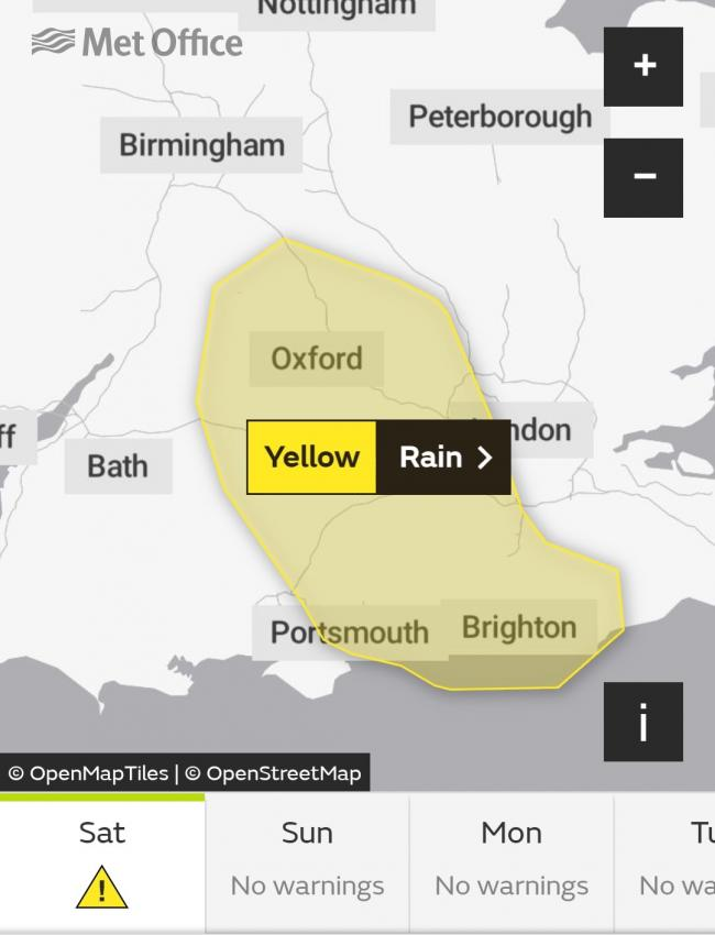 WEATHER ALERT: Yellow weather warning for heavy rain in Swindon today