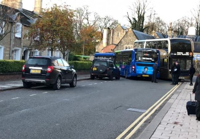 The buses on Bristol Street this morning Picture: Richard Williams