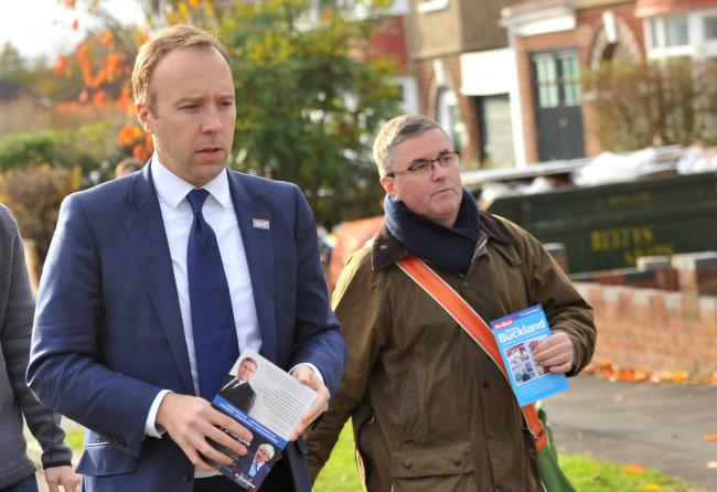 Health secretary Matt Hancock and south Swindon Conservative candidate Robert Buckland will be meeting the media..left 2 right .Pic - Matt Hancock, Robert Buckland.Date 13/11/19.Pic by Dave Cox.