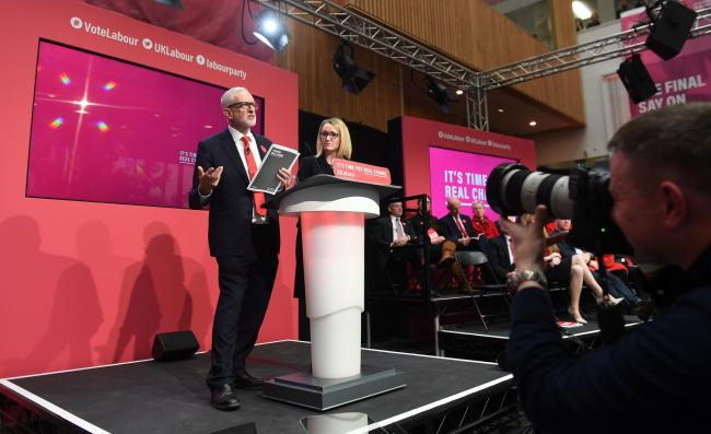 Jeremy Corbyn launches the Labour Party manifesto. Picture: PA