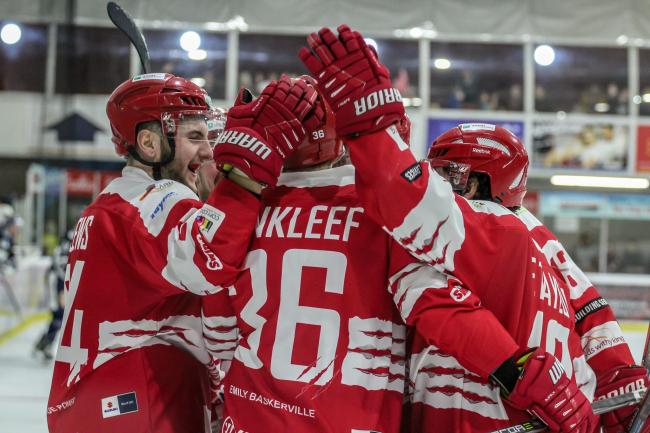 The Swindon Wildcats players celebrate debutant Tyler VanKleef's goal during Saturday night's home win over Bracknell Bees 	Picture: KAT MEDCROFT