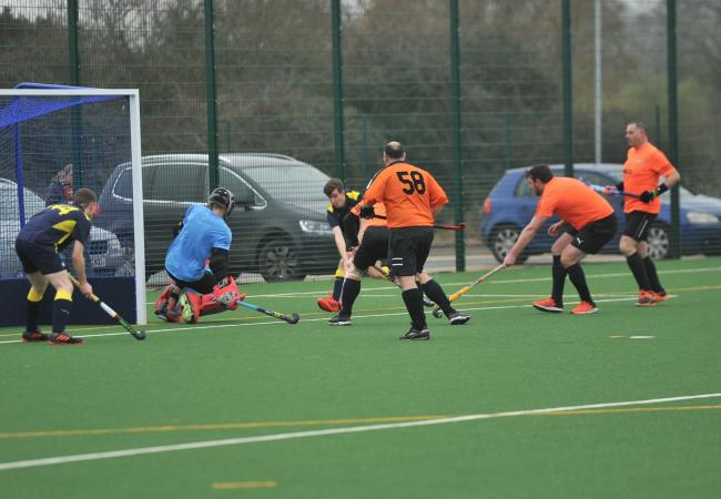 Action from Swindon B's four-goal loss at home to Team Bath Buccs E				Picture: DAVE COX