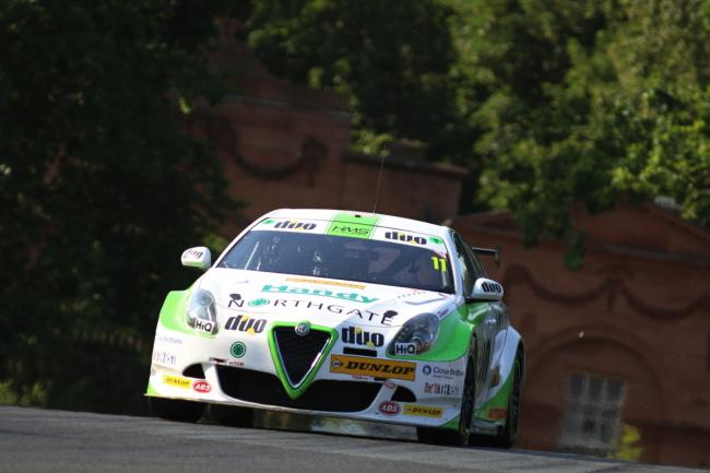 The DUO Motosport with HMS Racing team's Alfa Romeo Giulietta, driven by Rob Austin, during the British Tourings Car Championship round at Oulton Park in Cheshire. Picture: Jakob Ebrey Photography