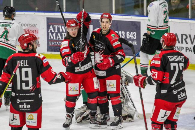 Swindon Wildcats 2 Basingstoke Bison 4; Friday, November 29, 2019; Loris Taylor, Tyler VanKleef; PICTURE: KAT MEDCROFT