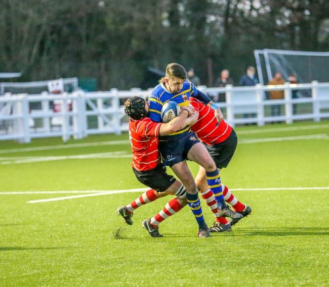 Swindon's Adam Westall (blue) pictured in action during his side's 64-26 win over Corsham in the Dorset & Wiltshire Intermediate Cup final last weekend