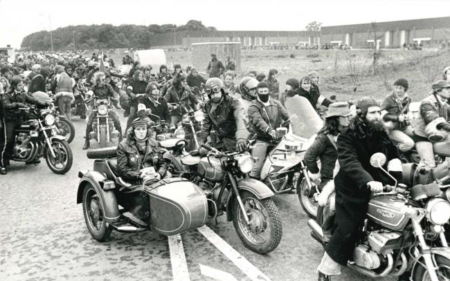 The open spaces of Blagrove made the location ideal for this gathering of motorcyclists