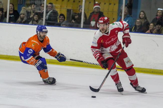 Sam Bullas (red) scored Swindon Wildcats' sole goal at iceSheffield on Friday night