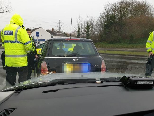 Police catch an uninsured Mini driver who interrupted their training course