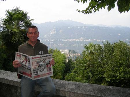 HERE'S Adver reader Kevin Russell perched on wall with a copy of his favourite newspaper enjoying a wonderful holiday in Northern Italy recently.