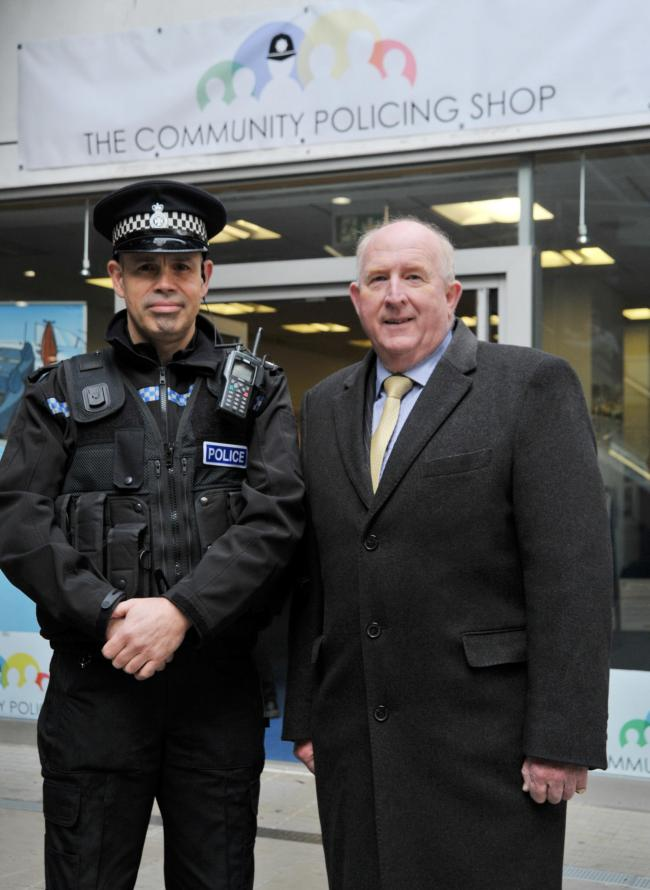Wiltshire Police is opening up a pop-up policing point in the Brunel. .left 2 right .Pic - David Tippets, Angus Macpherson.Date 19/11/18.Pic By Dave Cox.