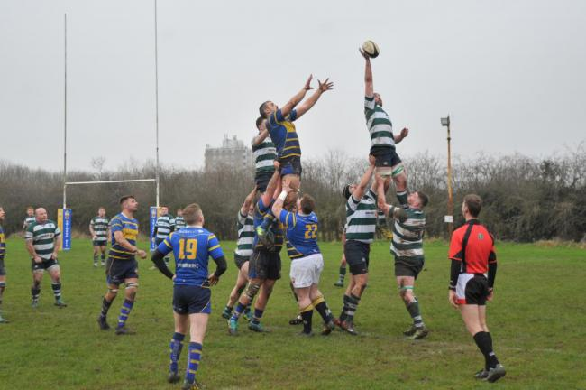 Swindon Rugby v Reading Rugby, pictured at Greenbridge rugby club..Pic - Swindon - left .Date 26/1/2020.Pic by Dave Cox..