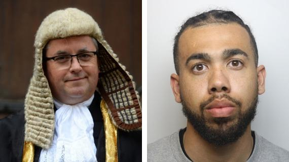 Robert Buckland in his Lord Chancellor's robes; right, Taylor Edwards Pictures: PA/WILTSHIRE POLICE