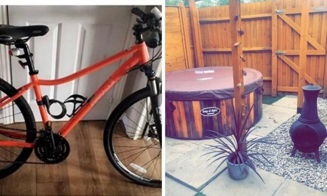 A bike and hot tub were stolen