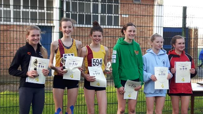 Inter girls podium (l to R): Champion Bea Wood of Wiltshire,  runner-up Kiya Dee representing Gloucestershire and her team-mate Kaitlyn Shepherd in third with fourth-placed Emily Shaw (Dorset) .