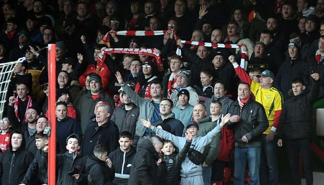 STFC v Grimsby        Pic Dave Evans        22/02/2020.Town End supporters cheer their side's win.