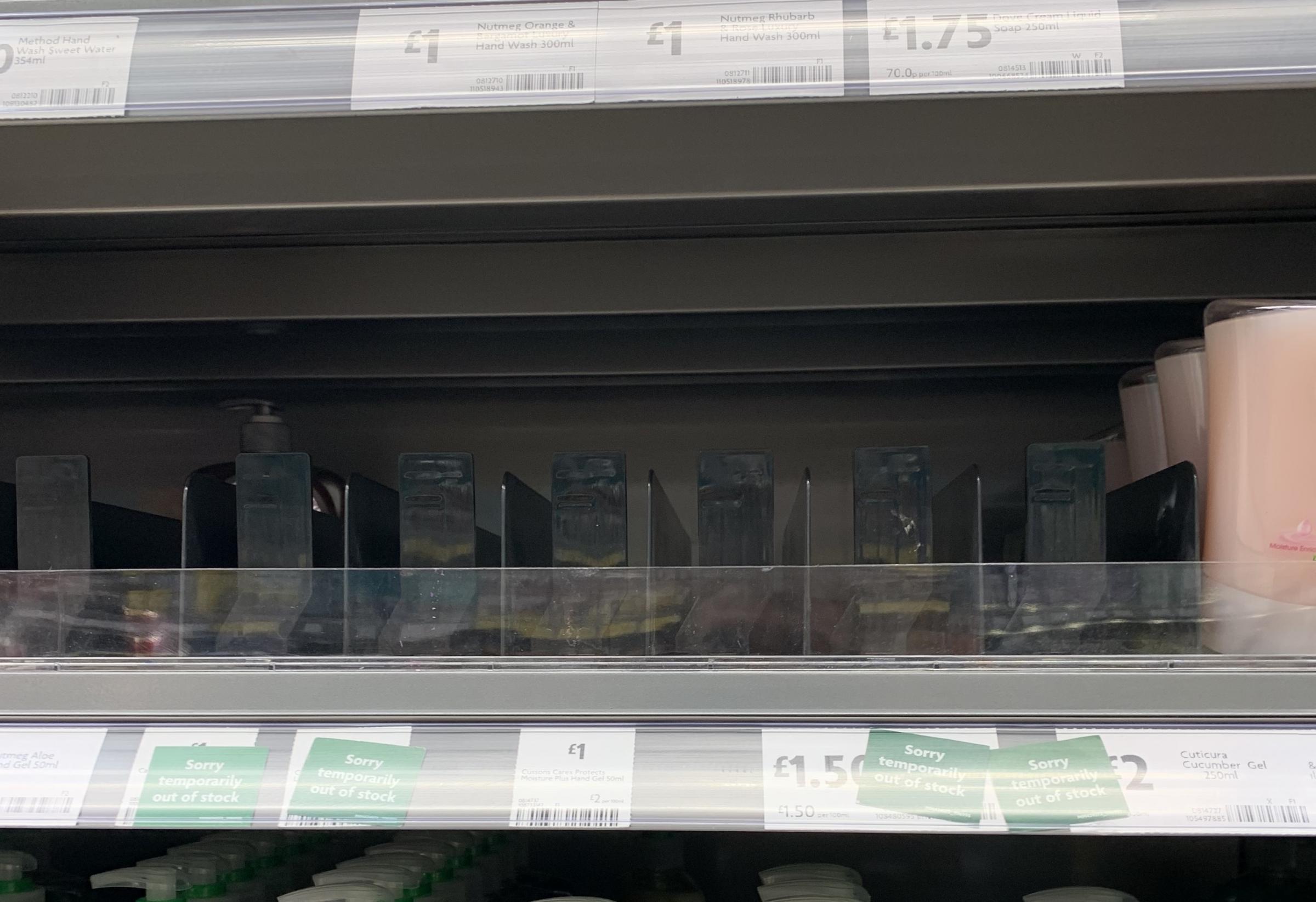 CORONAVIRUS: Worried shoppers strip hand sanitiser shelves at Swindon supermarkets