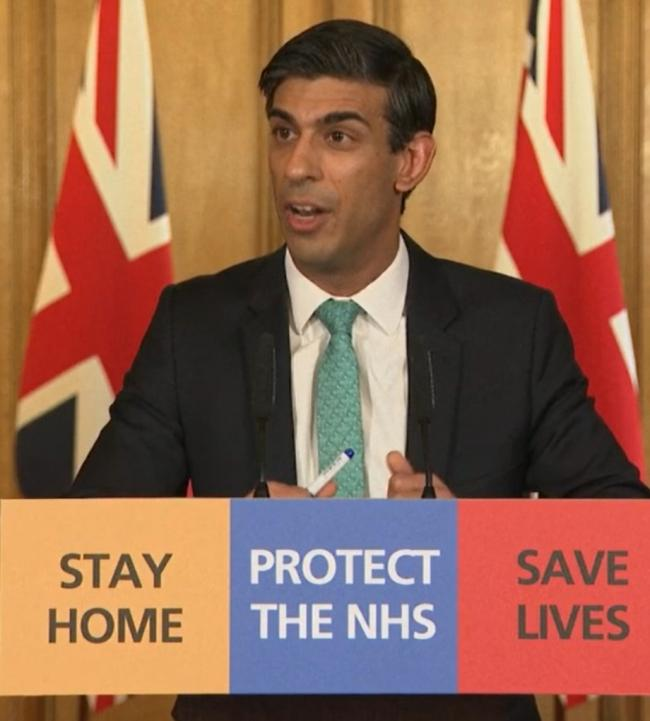 Screen grab of Chancellor Rishi Sunak answering questions from the media via a video link during a media briefing in Downing Street, London, on coronavirus (COVID-19). PA Photo. Picture date: Thursday March 26, 2020. See PA story HEALTH Coronavirus. Photo