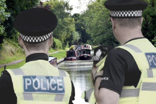 Composite image. Police stock image (PA). Boats on the Kennet and Avon Canal (Diane Vose)