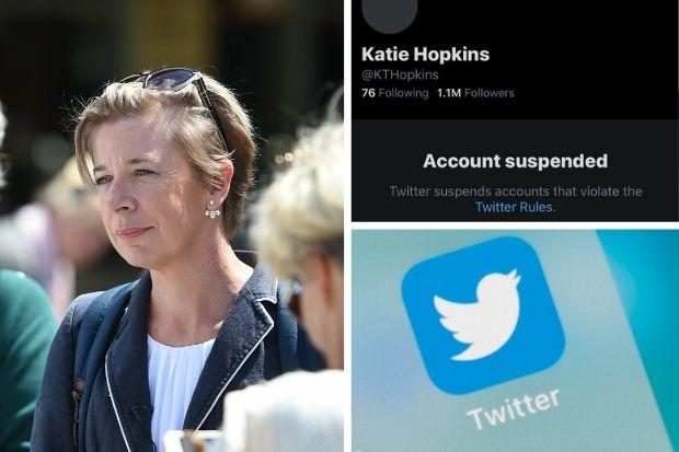 Katie Hopkins permanently suspended from social media platform Twitter