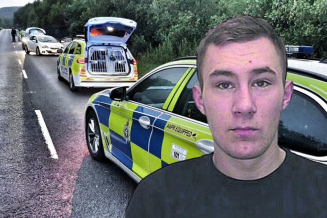 Police after pulling over Scarff in the Vauxhall Astra earlier this year; Inset: File custody picture of Jason Scarff Pictures: WILTSHIRE POLICE