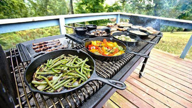 Swindon Advertiser: A good cast iron (or four) can help you cook up vegetable and more on the BBQ. Credit: Amazon / Lodge