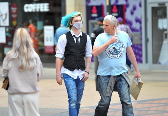 People using face masks in Swindon town centre..Pic - gv.Date 14/7/2020.Pic By Dave Cox.