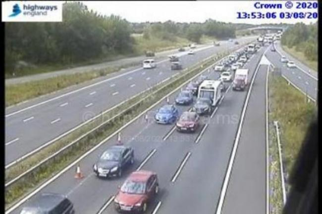 Cars queuing past J16 this afternoon Picture: HIGHWAYS ENGLAND