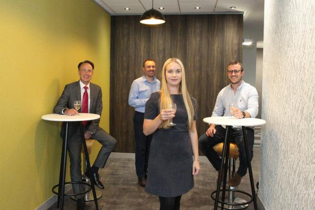 Alex Wilkie (Swindon Financial Services),  Jason Griffiths (Swindon Property Group), Danielle Mottram (Rombourne) and Ryan Surry (INTASO) at Rombourne