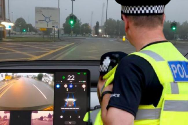 Composite image of Tesla self-drive test and police officers Pictures: TESLA DRIVER/YOUTUBE/PA