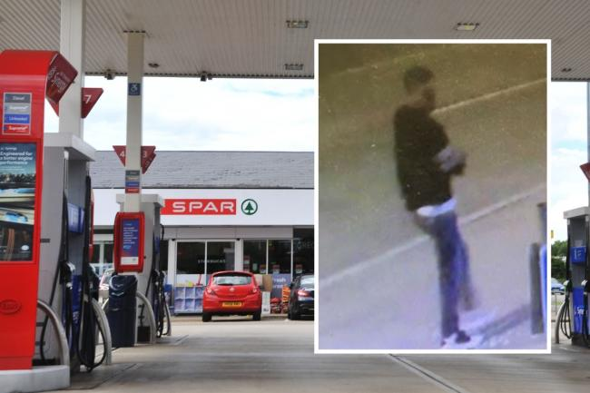 The Esso garage on Dorcan Way Inset: the sexual assault suspect Pictures: THOMAS KELSEY/WILTSHIRE POLICE