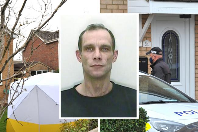 Middle: Christopher Halliwell; police searching a house in Wingfield, Stratton