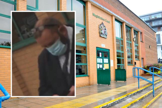 Inset: Anthony Adams outside Swindon Magistrates' Court