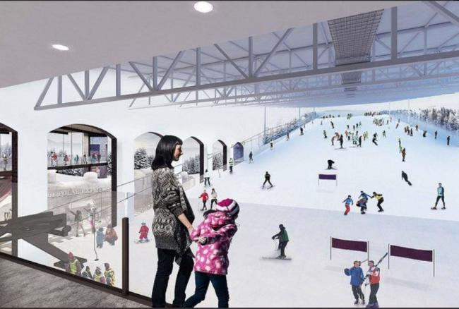 An artist's impression of the indoor ski slope
